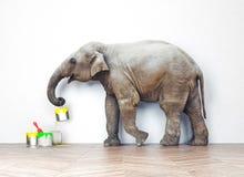 Elefante con las latas de la pintura Foto de archivo