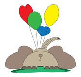 Elefante con los globos foto de archivo libre de regalías