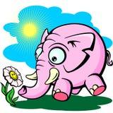 Elefante cor-de-rosa com flor, tiragem bonito dos childs Foto de Stock Royalty Free