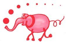 Elefante cor-de-rosa gouache handmade ilustração stock