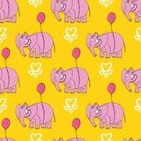 Elefante cor-de-rosa Mão original personagem de banda desenhada tirado Foto de Stock Royalty Free