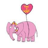 Elefante cor-de-rosa Mão original personagem de banda desenhada tirado Fotografia de Stock Royalty Free