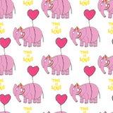Elefante cor-de-rosa Mão original personagem de banda desenhada tirado Fotografia de Stock