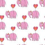 Elefante cor-de-rosa Mão original personagem de banda desenhada tirado Fotos de Stock Royalty Free