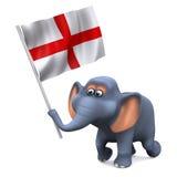 elefante 3d que lleva una bandera inglesa Imagenes de archivo
