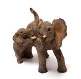 Elefante da cerâmica com vitela do elefante Fotografia de Stock