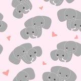 Elefante da mãe com a criança no fundo cor-de-rosa Teste padrão da família do elefante ilustração royalty free