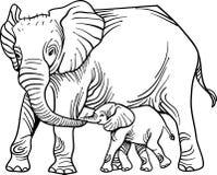 Elefante da matriz com bebê ilustração royalty free