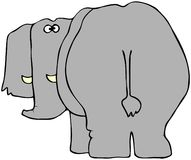 Elefante da parte traseira ilustração stock