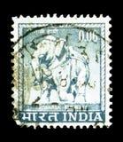 Elefante de Konarak, Orissa (siglo XIII), serie de los adornos del país, c Fotos de archivo libres de regalías