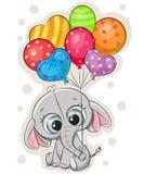 Elefante de la historieta con los globos en el fondo blanco stock de ilustración