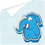 Elefante de la historieta en un cuaderno stock de ilustración