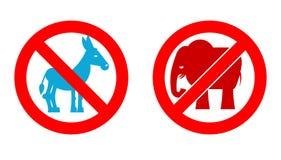 Elefante de la prohibición Pare el burro Pieza política prohibida de los E.E.U.U. de los símbolos Foto de archivo