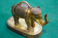 Elefante de oro en el piso verde, templo de Tailandia Imagenes de archivo