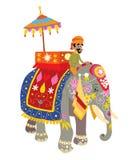 Elefante decorato ad un festival indiano illustrazione vettoriale