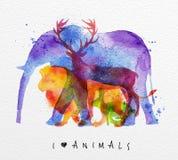 Elefante degli animali della sovrastampa royalty illustrazione gratis