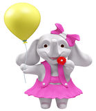 Elefante del bambino con la rappresentazione del pallone e della lecca-lecca 3d Fotografia Stock Libera da Diritti