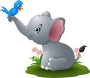 Elefante del bambino del fumetto che gioca con l'uccello blu Fotografie Stock