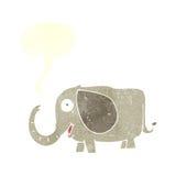 elefante del bebé de la historieta con la burbuja del discurso Foto de archivo