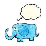 elefante del bebé de la historieta con la burbuja del pensamiento Imágenes de archivo libres de regalías