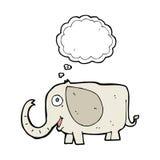 elefante del bebé de la historieta con la burbuja del pensamiento Imagenes de archivo