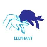 Elefante del burattino di mano dell'ombra Fotografia Stock Libera da Diritti