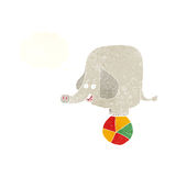 elefante del circo de la historieta con la burbuja del pensamiento Imagen de archivo libre de regalías