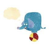 elefante del circo del fumetto con la bolla di pensiero Immagine Stock Libera da Diritti