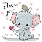 Elefante del fumetto con cuore su fondo bianco illustrazione vettoriale