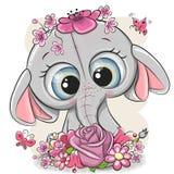Elefante del fumetto con flowerson un fondo bianco illustrazione vettoriale