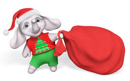 Elefante del fumetto del carattere di Natale che porta grande sacco rosso in pieno Immagine Stock