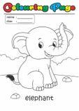 Elefante del libro de colorante de la página del colorante Conveniente fácil del grado para los niños imagen de archivo libre de regalías
