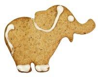 Elefante del pan de jengibre con el camino de recortes Imagenes de archivo
