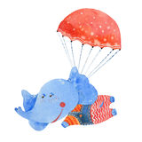 Elefante dell'acquerello con il paracadute illustrazione vettoriale