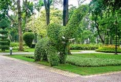 Elefante dell'ars topiaria in un giardino botanico Fotografia Stock