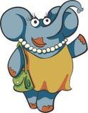 Elefante della donna con la borsa e le perle Fotografia Stock Libera da Diritti