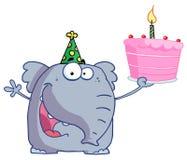 Elefante di buon compleanno in un cappello del partito, sostenente Immagine Stock Libera da Diritti