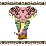 Elefante di colore con gli elementi del confine Immagini Stock Libere da Diritti