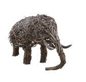 Elefante di legno del mestiere su fondo bianco fotografia stock libera da diritti