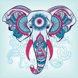 Elefante di vettore su Henna Indian Ornament Immagini Stock