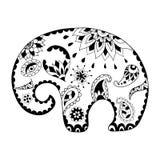 Elefante disegnato a mano del fumetto per l'anti pagina adulta di coloritura di sforzo Modello per il libro da colorare Immagini Stock Libere da Diritti