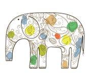 Elefante disegnato a mano di vettore con il modello floreale. Fotografia Stock Libera da Diritti