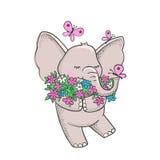 Elefante disegnato a mano sveglio con i fiori Immagine Stock