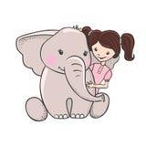 Elefante disegnato a mano sveglio con la ragazza Fotografia Stock