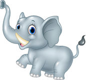 Elefante divertente del bambino del fumetto su fondo bianco Fotografie Stock Libere da Diritti