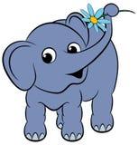 Elefante divertente del fumetto con un fiore Fotografia Stock Libera da Diritti