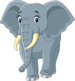 Elefante divertido de la historieta aislado en el fondo blanco Fotografía de archivo