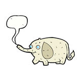 elefante divertido de la historieta pequeño con la burbuja del discurso Imagen de archivo