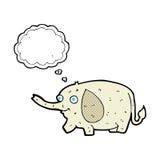elefante divertido de la historieta pequeño con la burbuja del pensamiento Imagen de archivo