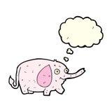 elefante divertido de la historieta pequeño con la burbuja del pensamiento Imágenes de archivo libres de regalías